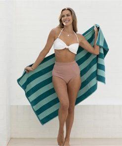Cabana Stripe Beach Towel 75 x 150cm Aqua