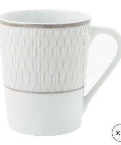 A by Amara - Prism Porcelain Mugs - Set of 4 - Platinum