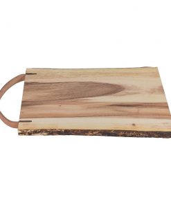 A by Amara - Wooden Platter With Leather Handle