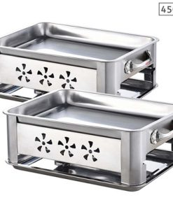 2X 45CM Portable Stainless Steel Outdoor Chafing Dish BBQ Fish Stove Grill Plate