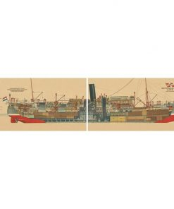 1926 Mailboat Indrapoera 2 Piece Printed Canvas Wall Art Set, 160cm