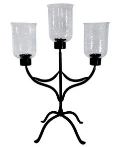 3 Head Glass and Metal Pillar Candle Holder