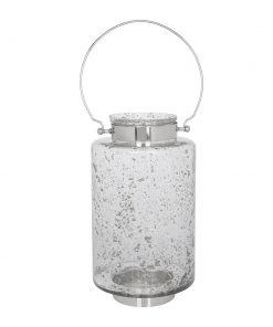 A by AMARA - Grey Ombre Speckled Glass Hurricane - Large