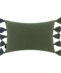 A by AMARA - Knitted Pom Pom Trim Cushion - Blue & Green