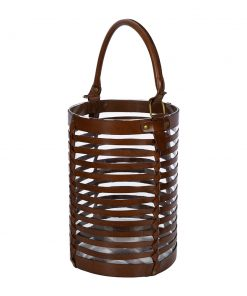A by AMARA - Leather Caged Glass Hurricane - Tan