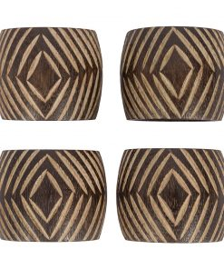 A by AMARA - Tribal Wooden Napkin Ring - Set of 4