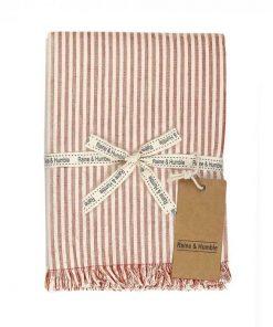 Abby Stripe Fabric Tablecloth, 170cm, Terracotta