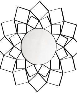 Abel Metal Frame Round Wall Mirror, 100cm, Black