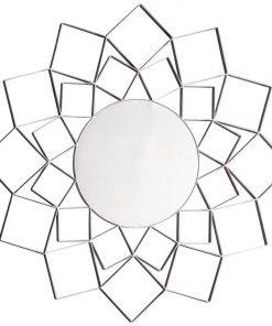 Abel Metal Frame Round Wall Mirror, 100cm, Silver