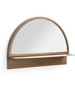 Aberdare Metal Frame Half Moon Wall Mirror with Shelf, 50cm