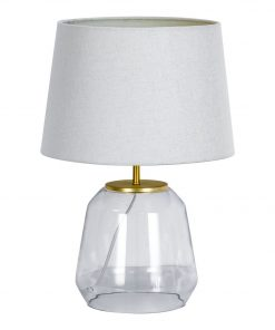 Akemi 60W E27 Table Lamp, Gold / Natural Size W 31cm x D 31cm x H 48cm in Gold/Natural Freedom