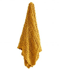 Akori Throw Size W 130cm x D 1cm x H 150cm in Mustard Freedom