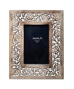 Anqul Hand Carved Mango Wood Photo Frame, 4x6""