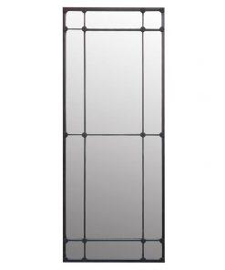 Aston Iron Frame Slim Floor Mirror, 200cm, Antique Black