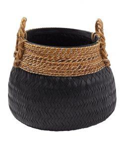 Bambu Rattan Basket, Black