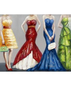 """Bright Dresses"" Stretched Canvas Wall Art Paint, 90cm"