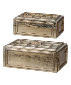 Gilt 2 Piece Wooden Storage Caddy Set