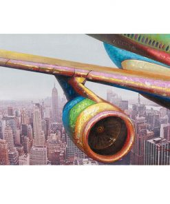"""Pop Art Flight"" Stretched Canvas Wall Art Paint, 90cm"
