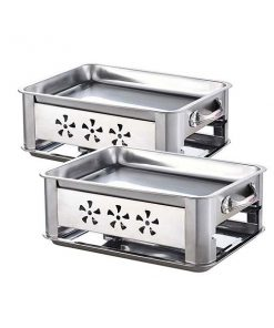 2X 36Cm Stainless Steel Outdoor Chafing Bbq Fish Stove Grill Plate