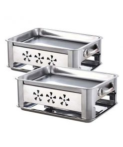 2X 40Cm Stainless Steel Outdoor Chafing Bbq Fish Stove Grill Plate