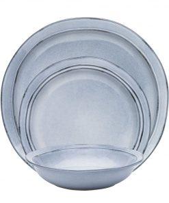 Alassio 12 Piece Dinner Set Size W 27cm x D 31cm x H 32cm in Grey Stoneware Freedom