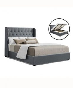 Artiss Queen Size Gas Lift Bed Frame Base With Storage Mattress Grey