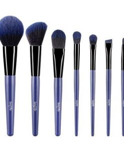 7 Pcs Makeup Brushes Kit Cosmetic Eye Shadow Lip Liner Blending Beauty Set - Blue
