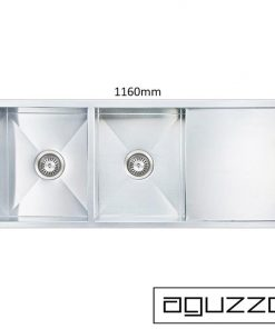 AGUZZO Stainless Steel Kitchen Sink - 1160mm Double Bowl with Drainer *Slightly Bent on one edge*