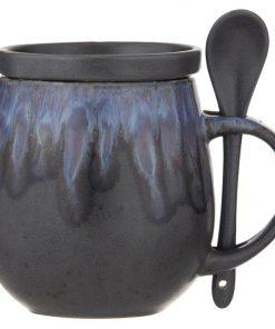 Aikido 3 Piece Reactive Glazed Ceramic Hug Mug Set, Blue
