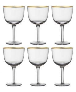 Bitossi Home - Deco Gold Rim Wine Glasses - Set of 6 - Clear