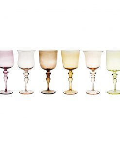 Bitossi Home - Diseguale Worked Stamp Wine Glasses - Set of 6 - Amber/Pink