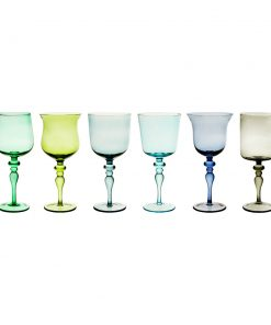 Bitossi Home - Diseguale Worked Stamp Wine Glasses - Set of 6 - Blue/Green
