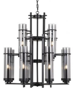 Burgess Metal & Glass Chandelier, Large