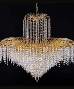 Hera Asfour Crystal Pendant Light / Chandelier, 110cm, Gold