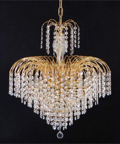 Hera Asfour Crystal Pendant Light / Chandelier, 49cm, Gold