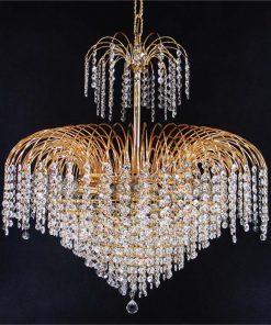 Hera Asfour Crystal Pendant Light / Chandelier, 66cm, Gold