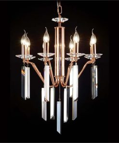 Hestia Asfour Crystal Chandelier, 8 Arm, Rose Gold