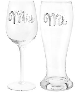 Mr & Mrs Beer & Wine Glass By Lesser & Pavey