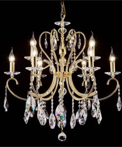 Persephone Asfour Crystal Chandelier, 9 Arm, Gold