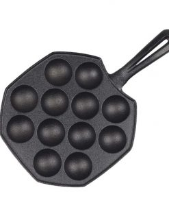 18CM Cast Iron Non Stick Takoyaki Fry Pan Octopus Balls Maker 12 Hole Cavities Grill Mold