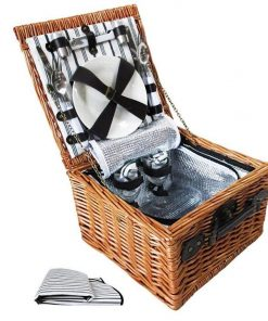 2 Person Picnic Basket Set w/ Cooler Bag Blanket | Afterpay | zipPay