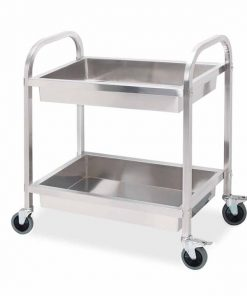 2 Tier Stainless Steel Kitchen Trolley Bowl Collect Service Food Cart 75×40×83cm Small