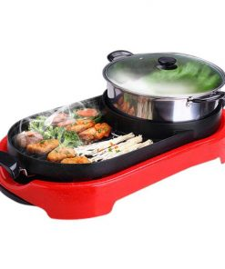 2 in 1 BBQ Electric Pan Grill Teppanyaki Stainless Steel Hot Pot Steamboat Red