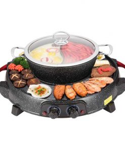 2 in 1 Electric Stone Coated Grill Plate Steamboat Two Division Hotpot
