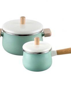 22cm Enamel Milk Pot Ceramic Saucepan with Lid Stockpot Set Blue