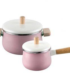 22cm Enamel Milk Pot Ceramic Saucepan with Lid Stockpot Set Pink