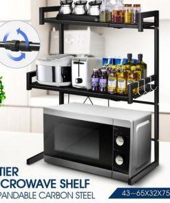 3 Tier Kitchen Shelf Microwave Stand Rack Steel Storage Shelf Organizer Black