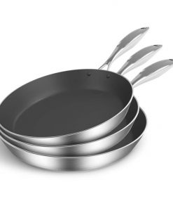 3X Stainless Steel Fry Pan Frying Pan Induction FryPan Non Stick Interior Skillet