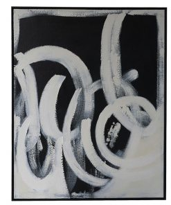 """""""Black Twirl"""" Framed Hand Painted Abstract Canvas Wall Art, No.2, 106cm"""