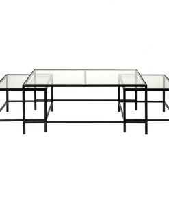 Cocktail 3 Piece Glass Top Iron Nested Coffee Table Set, Black